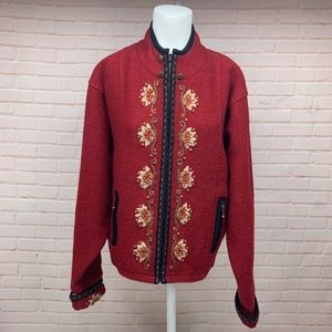 Icelandic Design Embroidered Wool Sweater Jacket L